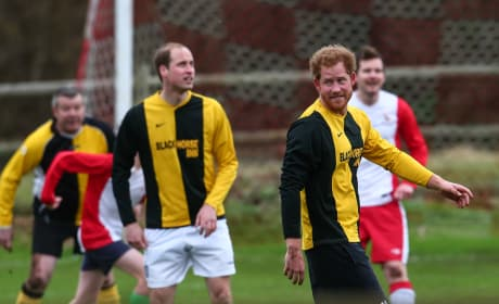 William and Harry Play Soccer at the Queen's House
