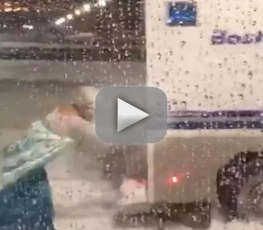 Man dressed as elsa rescues police wagon from snow