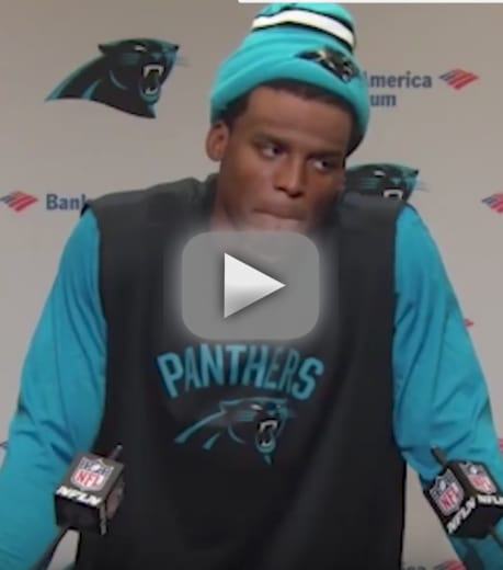 Cam newton laughs at female reporter gets roasted on social medi
