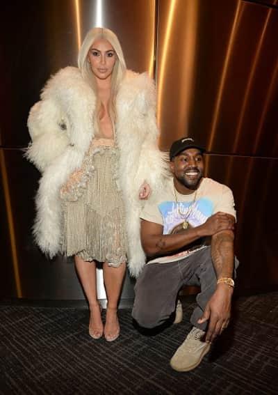 Kim Kardashian and Kanye West backstage after the Yeezy Season 3 show