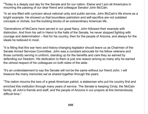 mcconnell statement
