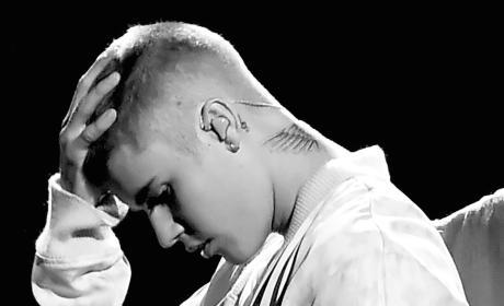 Justin Bieber Looks Down