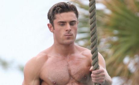 Zac Efron shirtless for Baywatch