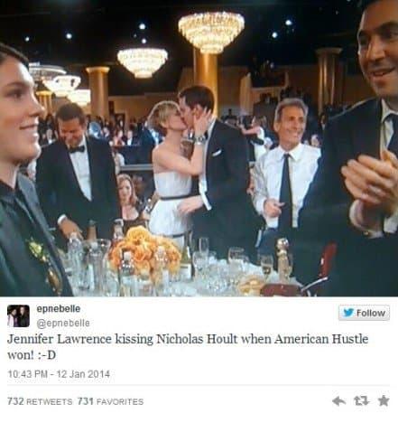 Nicholas Hoult Kisses Jennifer Lawrence