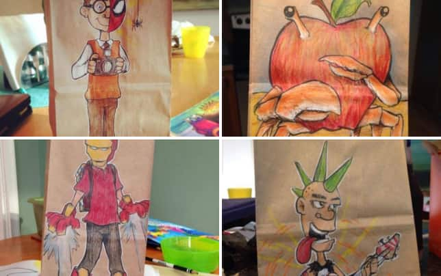 Dad draws on sons lunch bags amazing pics peter parker meets spider man