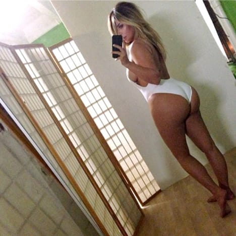 Kim Kardashian White Bodysuit Butt Selfie Photo