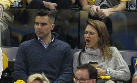 Jessica Alba and Cash Warren at a UCLA Basketball game