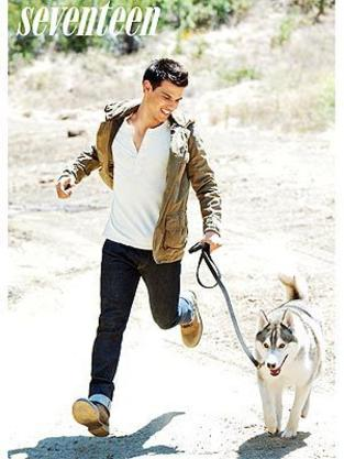 Taylor Lautner and a Pup