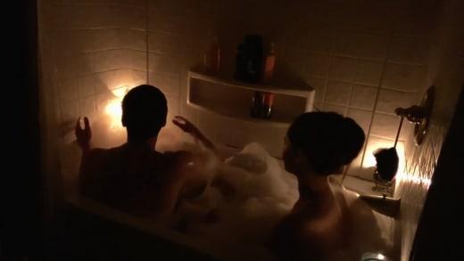 Brandon Gibbs and Julia Trubkina in the tub for bath tub