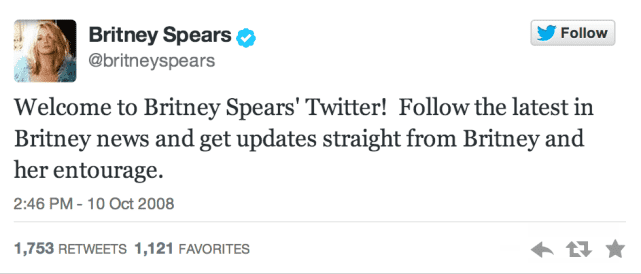 Britney's First Tweet