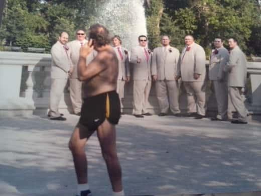Shirtless Man Photobombs Groomsmen