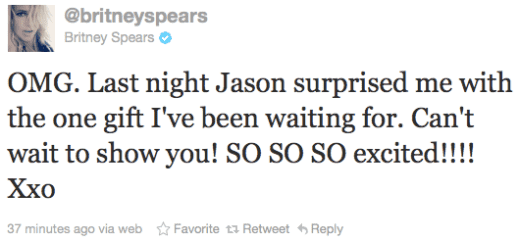 Britney Engagement Tweet