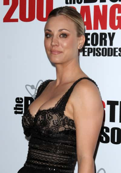 Kaley Cuoco in black lace dress