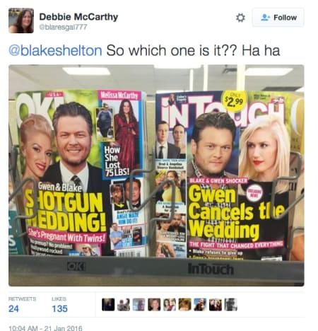 Blake Shelton Tweets Response to Wedding Rumors 1