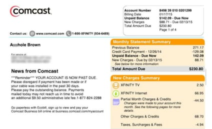 """Comcast Apologizes For Renaming Customer """"A--hole Brown"""" on Bill"""