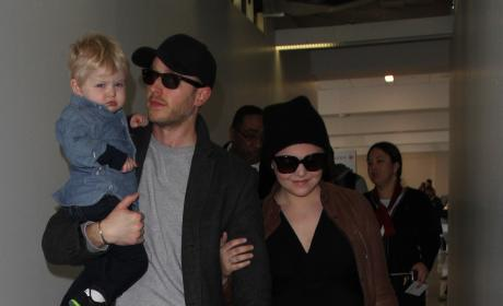 Ginnifer Goodwin and Josh Dallas Land at LAX With Their Son