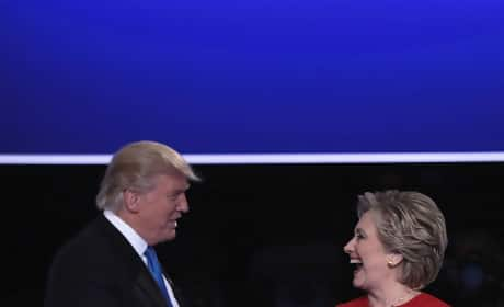 Donald Trump Shakes Hands with Hillary Clinton