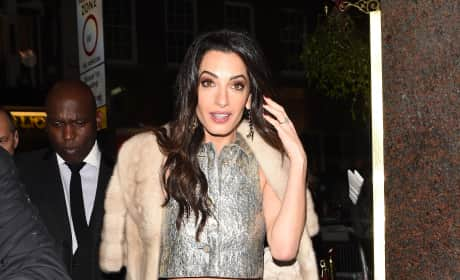 Amal Clooney at Charlotte Tilbury's Naughty Christmas Party