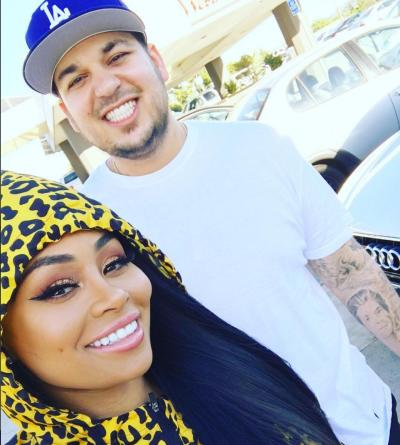 Rob Kardashian and Blac Chyna Smile For The Camera