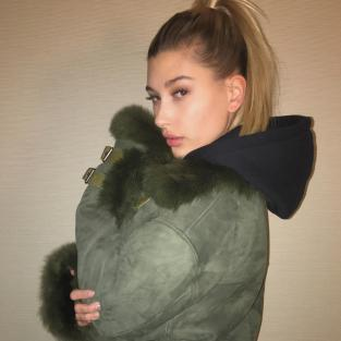 Hailey Baldwin in a Coat