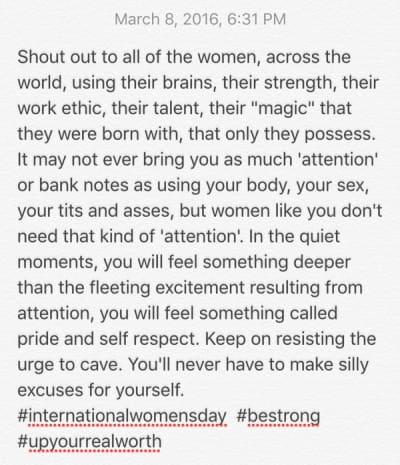 Pink Twitter message on International Women's Day