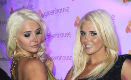 Hugh Hefner, Shannon Twins Celebrate Playboy Spread
