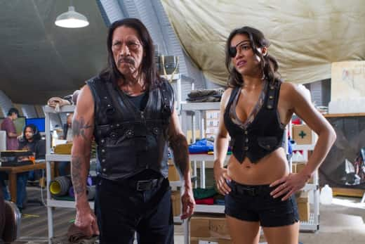 Michelle Rodriguez and Danny Trejo in Machete Kills