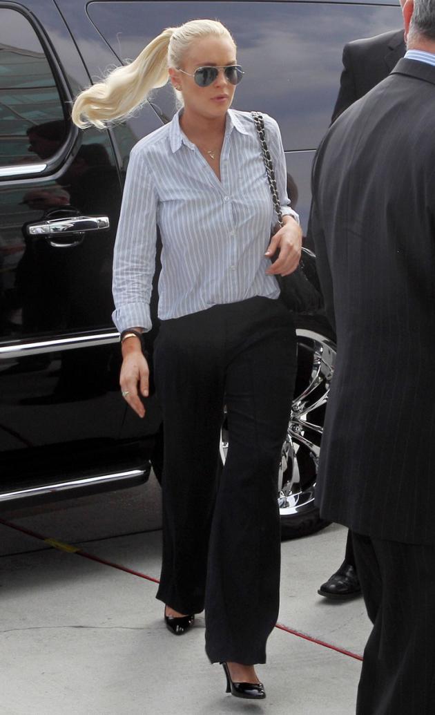 Lindsay Lohan Wearing Stripes