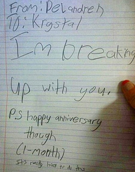 Kid Breaks Up With Girlfriend On Their One Month