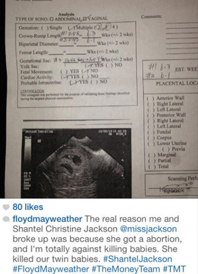 Mayweather on Instagram