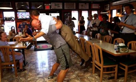 Pizza Man Bear Hugs Obama