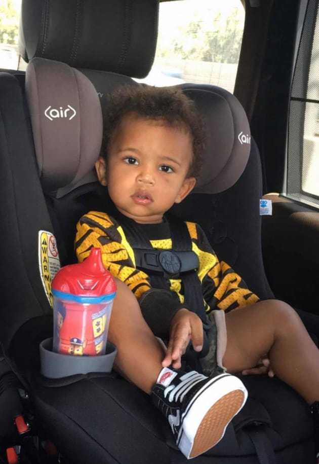 Saint West in the Car