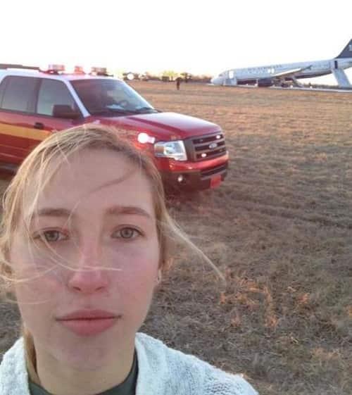 Plane crash selfie photo
