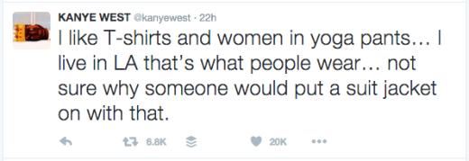 Kanye tweet - yoga pants