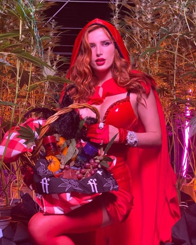 Bella Thorne with basket of goodies