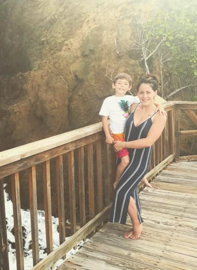 Jenelle Evans Holds Her Son