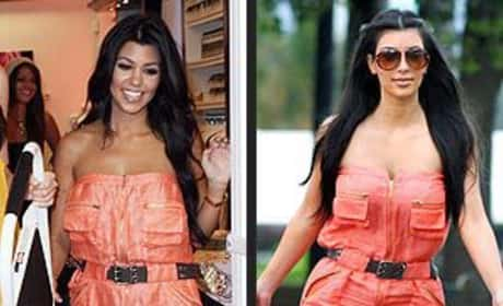 Who wears this outfit better: Kourtney or Kim Kardashian?