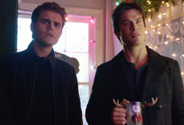 Stefan and damon on christmas