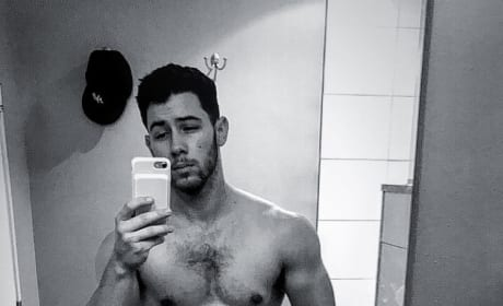 Nick Jonas Black and White Mirror Selfie