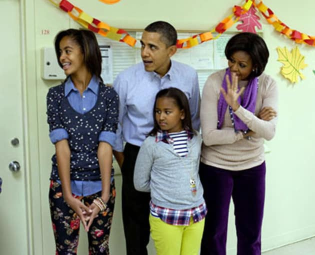 Barack, Michelle, Malia and Sasha Obama