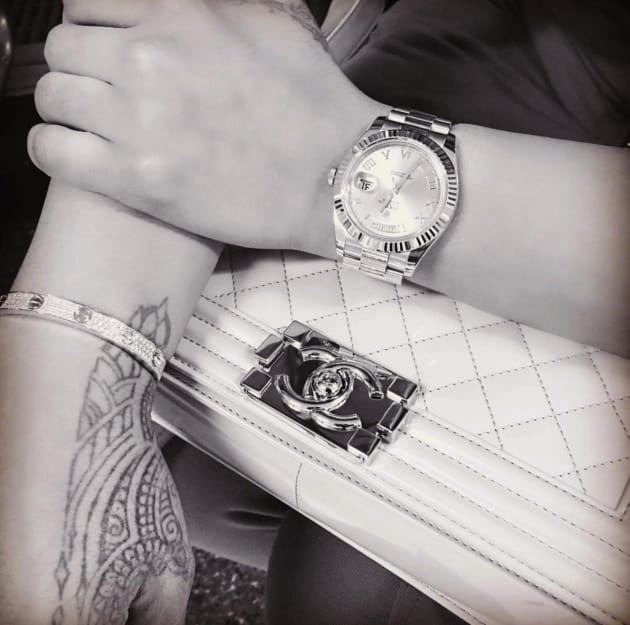 79dc926246416 Blac Chyna Shows off Cartier Love Bracelet, Rolex and a Chanel Purse ...