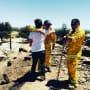 Johnny Galecki Hugs a Firefighter