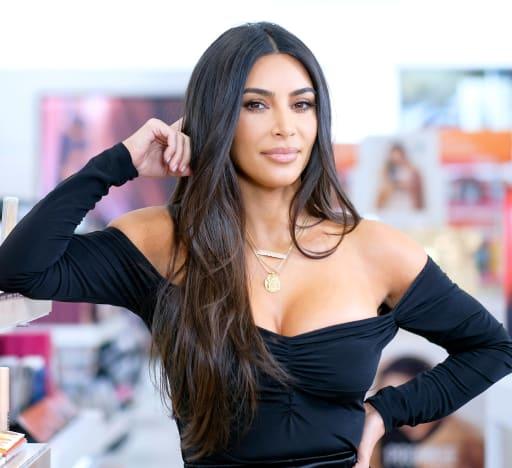 Kim Kardashian with a Smirk