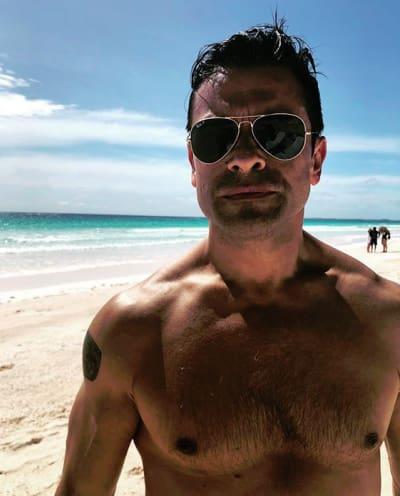 Mark Consuelos at the Beach