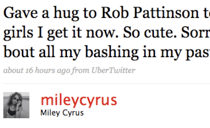 """Miley Cyrus Now Finds Robert Pattinson """"So Cute"""""""