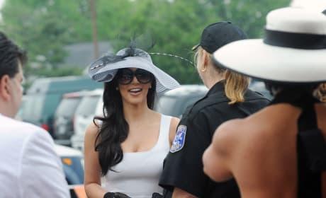 Kim Kardashian White Dress Chats People Kentucky Derby
