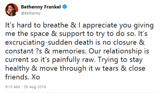 Bethenny Frankel, Mournful Tweet