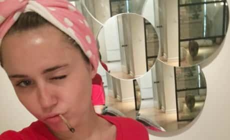 Miley Cyrus Gives Thumbs Up