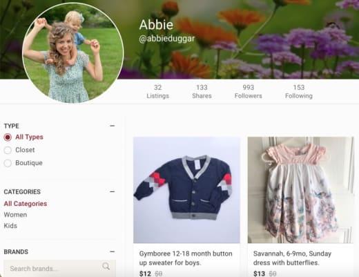 Abbie Burnett sells clothes via app