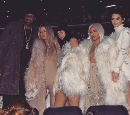Lamar Odom and The Kardashians at Kanye West's Fashion Show